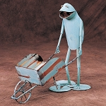Gardener Frog w/ Wheelbarrow