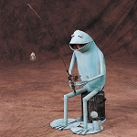 Stumpy-Frog on Stump w/Fishin' Pole